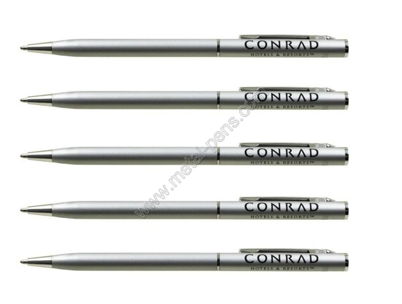 Conrad hotel & resort use silver twist metal slim ball point pen