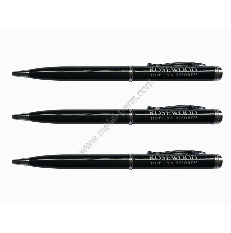 black color luxury rosewood hotel guestroom gift metal ballpoint pen
